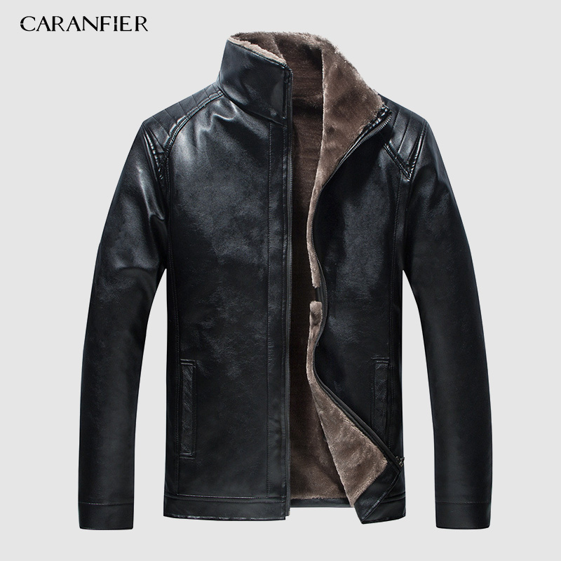 CARANFIER Jacket Men Outwear Windbreaker Motorcycle Male Leather Winter New Warm PU Size-4xl