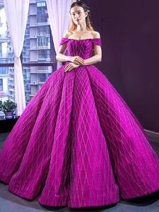Evening-Gowns Formal-Dresses Elegant Red Satin Long Purple Celebrity Sequins Floor-Length
