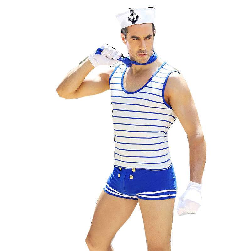 Muscle Man Suit Sailor Navy Uniform Boy Child Halloween Costume