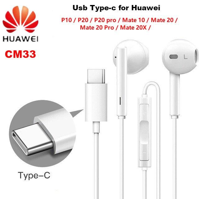 سماعة هواوي CM33 USB Type C في الأذن السلكية mic التحكم في مستوى الصوت سماعة لهواوي ماتي 10 برو P20 Por P30 برو