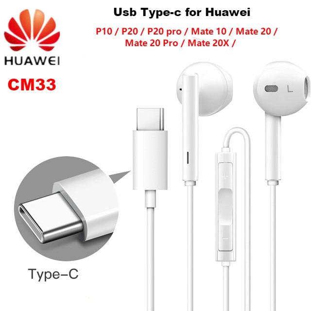 Наушники HUAWEI CM33 USB Type-C, проводная гарнитура с микрофоном и регулятором громкости для huawei Mate 10 Pro P20 Por P30 Pro