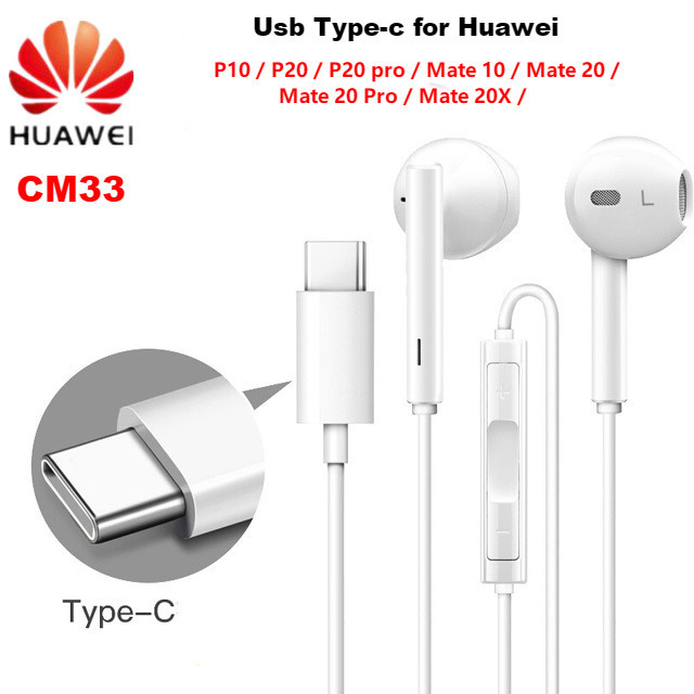 HUAWEI Earphone CM33 USB Type C In Ear wired mic Volume Control Headset for huawei Mate 10 Pro P20 Por P30 Pro