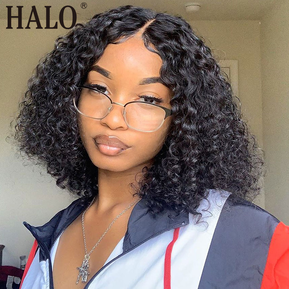 Halo Deep Wave 13x4 Lace Front Human Hair Short Bob Wigs Pre Plucked Brazilian Remy 613 Kinky Curly Frontal Natural Color Wigs image