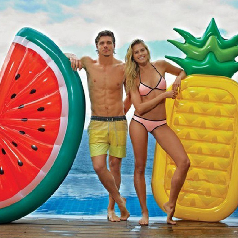 Rooxin Giant Pool Float Swimming Ring Pineapple Watermelon Inflatable Mattress Floating Row Swimming Circle Beach Pool Party