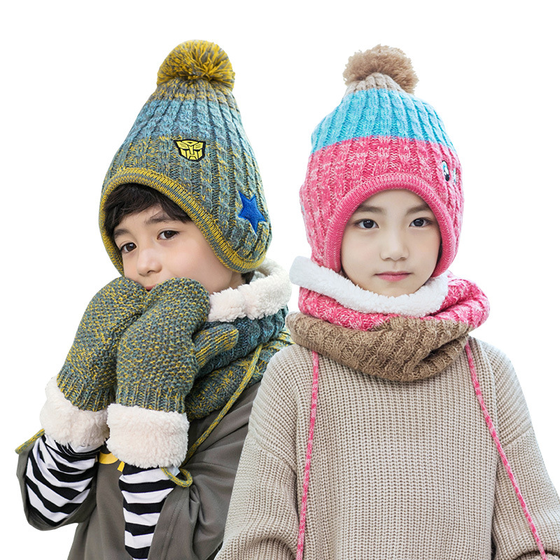Kocotree Winter Hat For Children Warm Hat Scarf And Gloves Set 5-12 Years Old Kids Boy Hat Scarf Set Girl 's Skullies Beanies