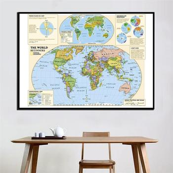 The World Physical Map HD Short Version For New Beginner Home Wall Decoration 24x36 inches