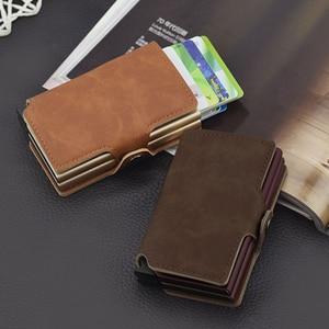 Image 1 - Casekey Anti theft Männer Brieftasche doppel Aluminium Leder Kreditkarte Halter RFID Metall Brieftasche Automatische Pop Up Geldbörse ID karteninhaber