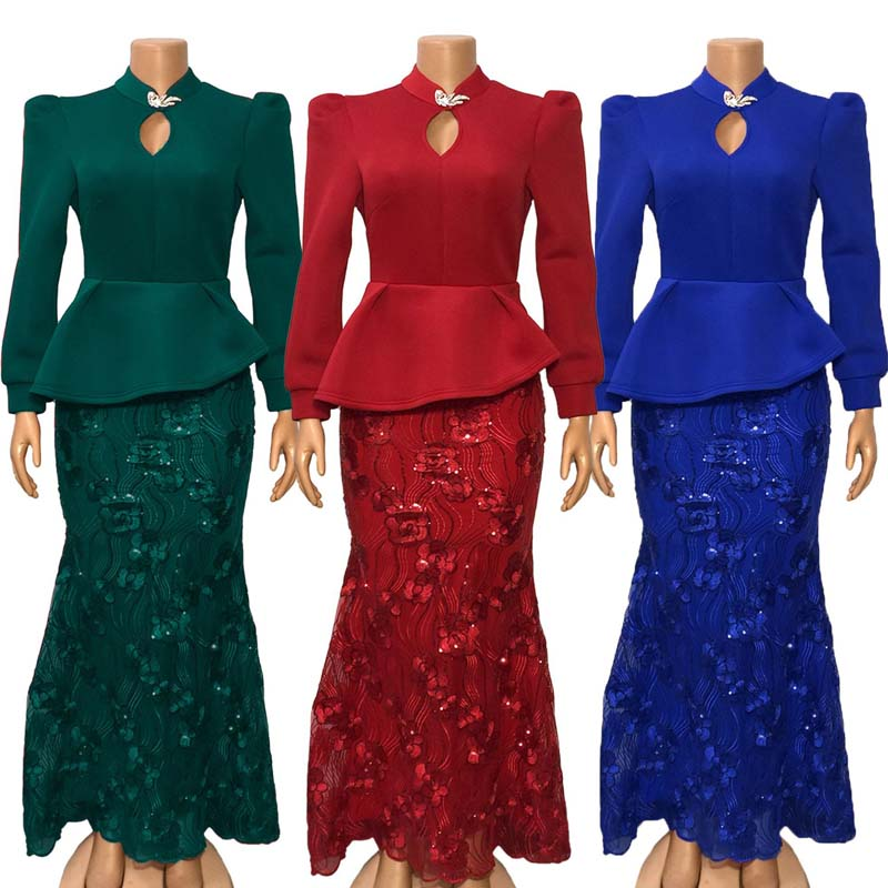 Sequins Embroidery Bodycon Dress Women African Clothes Evening Party Dress Long Sleeve Ruffles Fishtail Long Dress Autumn Winter