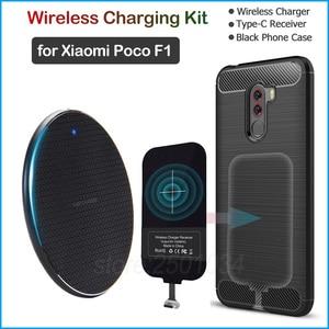 Image 1 - Kablosuz şarj için Xiaomi Pocophone F1 Qi kablosuz şarj + USB tip C alıcı adaptörü hediye yumuşak TPU kılıf xiaomi POCO F1