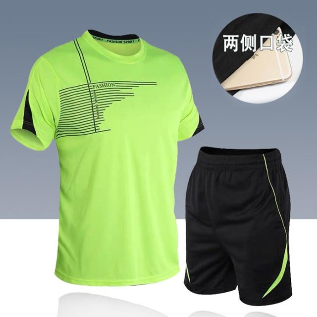 men's set  sportswear kit short sleeve sports sport shirt men running 2pcs suit for soccer gym fitness men t-shirts+shorts sets 2
