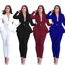 Women Blazer And Pants Elegant Office Suit Slim Trouser Suit