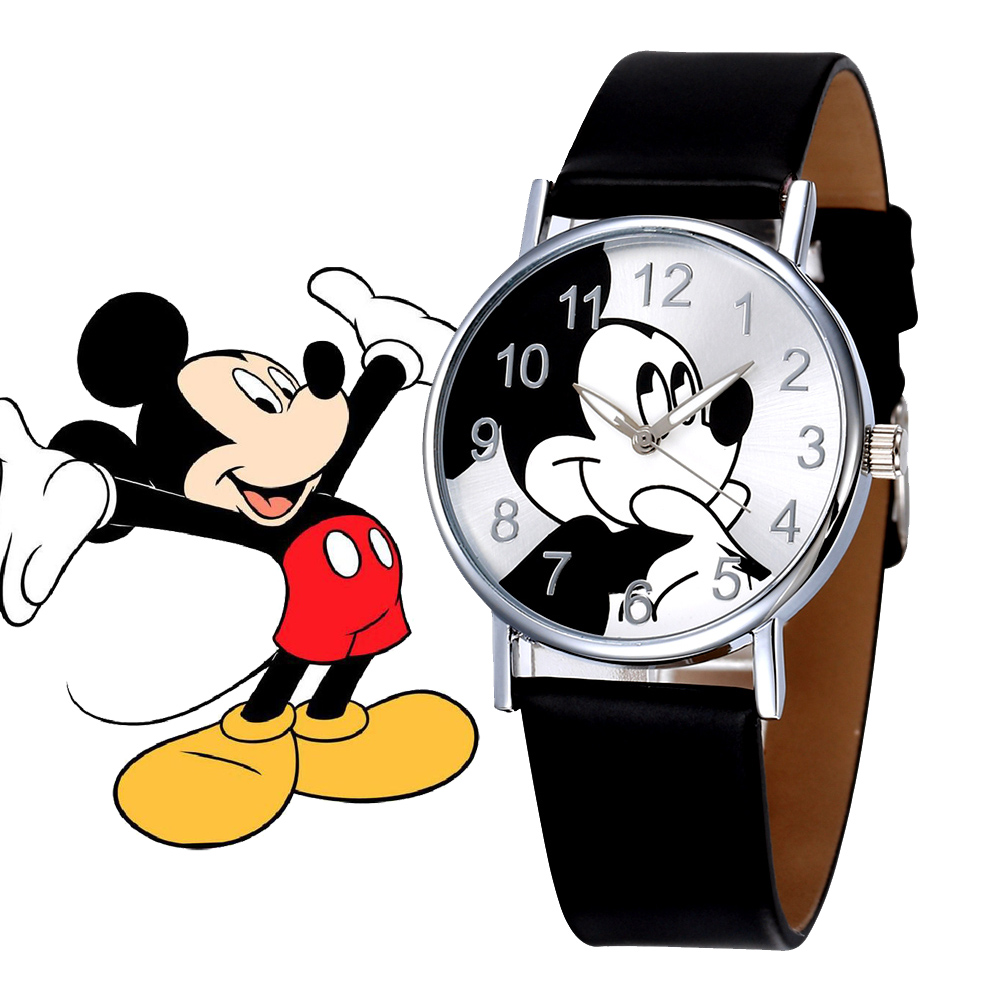 Children's Watches Lovely Mickey Mouse Girls Boys Gift Fashion Crystal Dress Children Quartz Wristwatches Kids Watch Clock