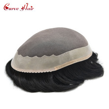 Fine Mono Indian Remy Comfortable And Durable Mens Toupee Poly Coating Around Hair Hair