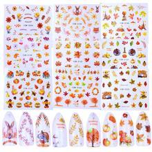 1 Copriletto di Stile di Autunno Giallo Foglia Dacero Etichette Autoadesivo di Trasferimento Dellacqua Unghie Artistiche Stickers Nail Decalcomanie Involucri Decorazioni