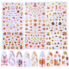 1 Sheet Autumn Style Yellow Maple Leaf Labels Sticker Water Transfer Nail Art Stickers Nail Decals Wraps Decorations