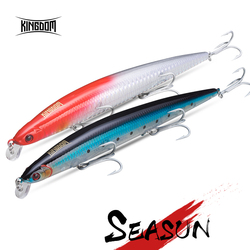 Kingdom Floating Minnow Sea Fishing Lure Wobbler Rattle Sound Hard Bait Artificial Jerkbait Model 5333 120m,14.5G/143mm,21g