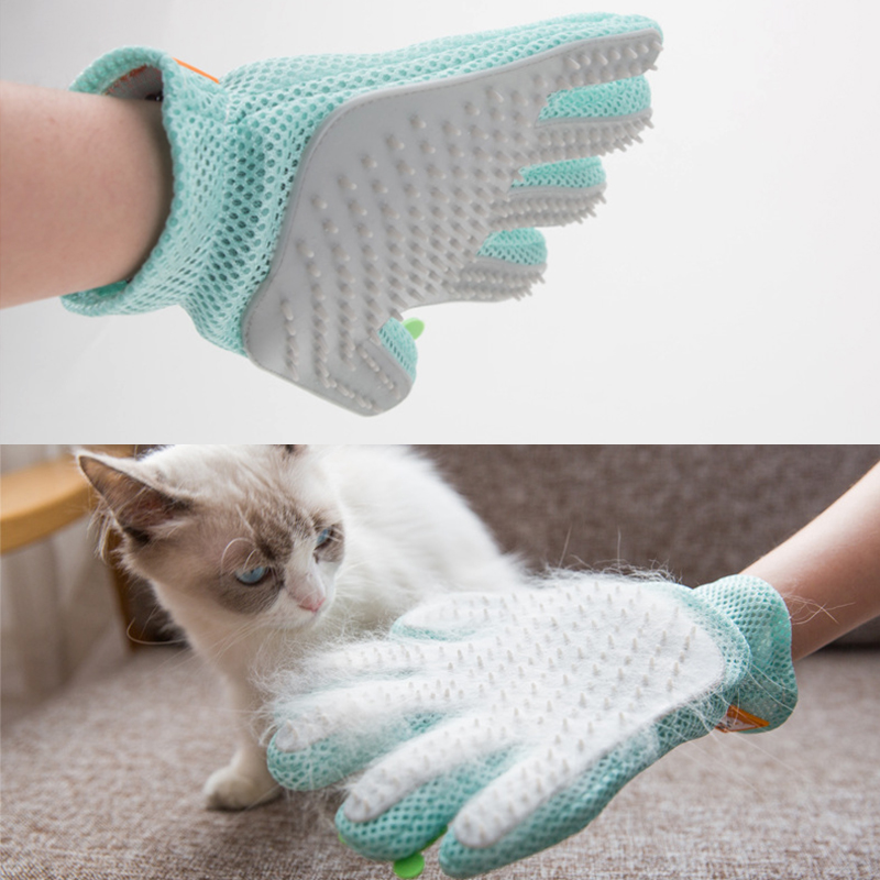 Silicone Cat Grooming Glove  Cats Wool Glove Pet Hair Deshedding Brush Comb Glove For Pet Dog Cleaning Massage Glove For Anima