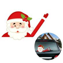 Christmas Decoration Santa Claus 3D PVC Waving Car Stickers Styling Window Wiper Decals Rear Windshield Decor Sticker