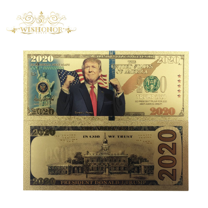 1Pcs New America 2020 Year Trump Banknotes 2020 Dollar Bills Banknote in 24K Gold Plated Paper Money For Gifts