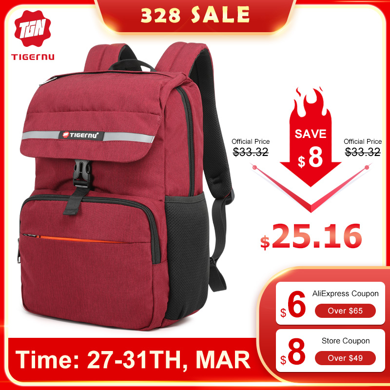 "Tigernu New Leisure Light Weight 15.6""Laptop Backpack Men Anti Theft Zipper Reflective USB Charge Design Waterproof School Bags"