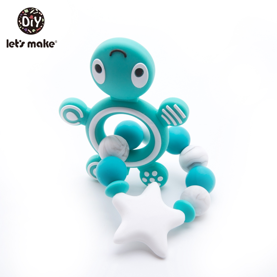 Let's Make Silicone Teething Beads 1pc Baby Teether Silicone Teether Turtle Crib Bedding Toddler Toys Baby Rattle Toy