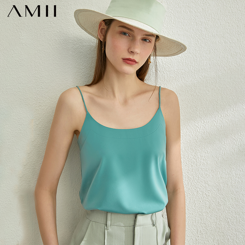 AMII Minimalism Spring Summer New Vest For Women Causal Solid Vneck Loose Crop Top Women Tank Top 12030186