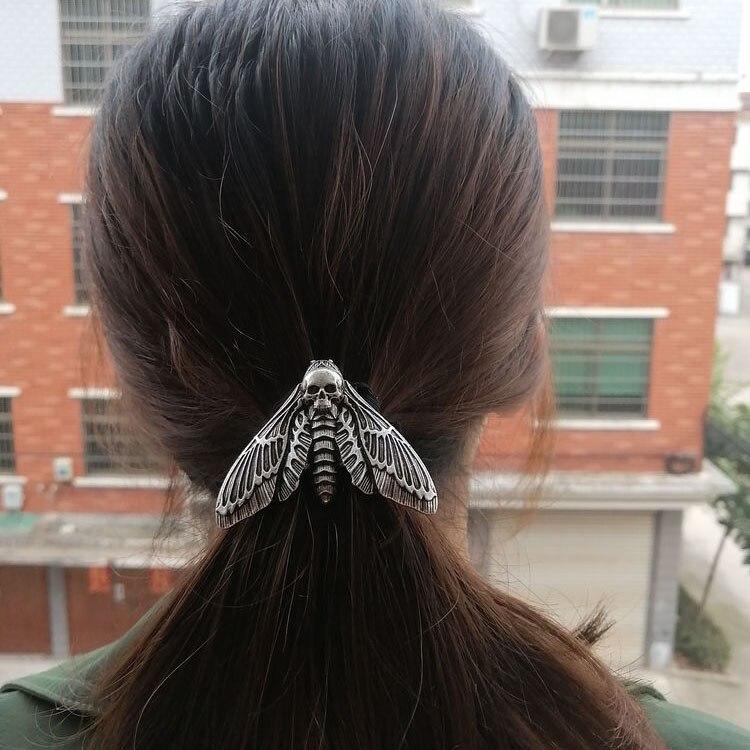 Женская резинка для волос в виде головы смерти, эластичная повязка на голову с принтом «ястреб», рождественский подарок