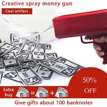 Make It Rain денежный пистолет Красный Розовый игрушка Рождественский подарок вечерние игрушки игры 100 шт наличные модные денежный пистолет игрушки Пузырьковая Колонна для посылка