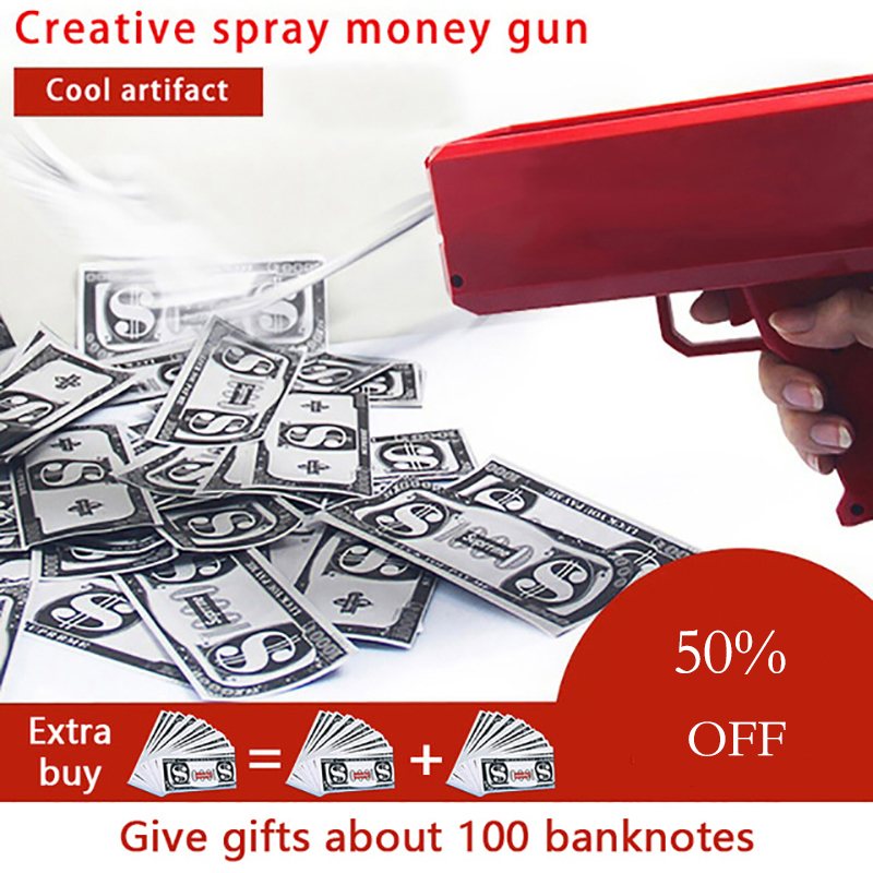 Make It Rain Money Gun Red Pink Toy Christmas Gift Party Toys Game 100PCS Cash Fashion Money Gun Toys Bubble Column For Package