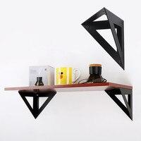 Staffa triangolare per montaggio a parete supporto di fissaggio divisorio nero staffe per mensole galleggianti montaggio Hardware per Rack di stoccaggio in ferro battuto