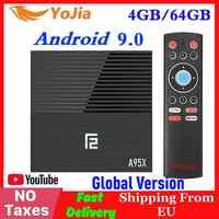 Amlogic s905x3 smart android 9.0 caixa de tv max 4 gb ram 64 gb rom dupla wifi media player a95x f2 1/8g google store youtube pk x96 max