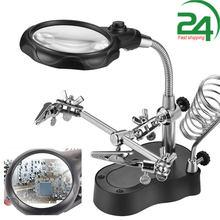 Estação de ferro de solda suporte com clipe de lupa de solda braçadeira terceira mão ajudando desktop ferramenta de reparo de solda lente autoescurecimento solda