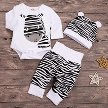 Zestaw ubranek Dla chłopca nowonarodzone niemowlę chłopcy kreskówka nadruk zebry Romper + spodnie z nadruk zebry kapelusz stroje Dla Dla Niemowlat