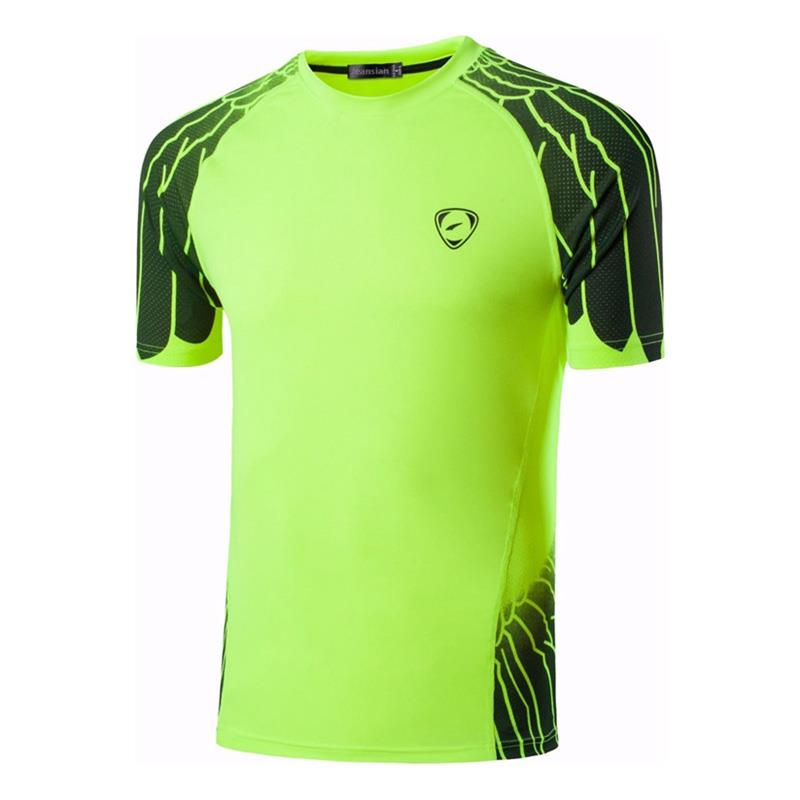 Jeansian Men 39 s Tshirt T Shirt Tee Shirt Sport Dry Fit Short Sleeve Running Fitness Workout LSL229 GreenYellow2 in T Shirts from Men 39 s Clothing