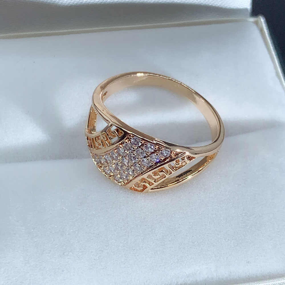 LUALA White Color Cubic Zirconia Unique Ring for Women 585 Rose Gold Geometric Finger Jewelry Party Gifts No Fade 5