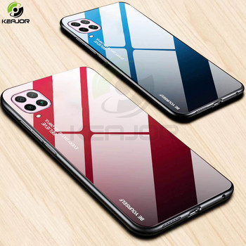 Hard Case For Huawei P40 Lite Case Luxury Gradient Tempered Glass Back Cover Soft Silicone Edge Bumper For Huawei P 40 Lite Case