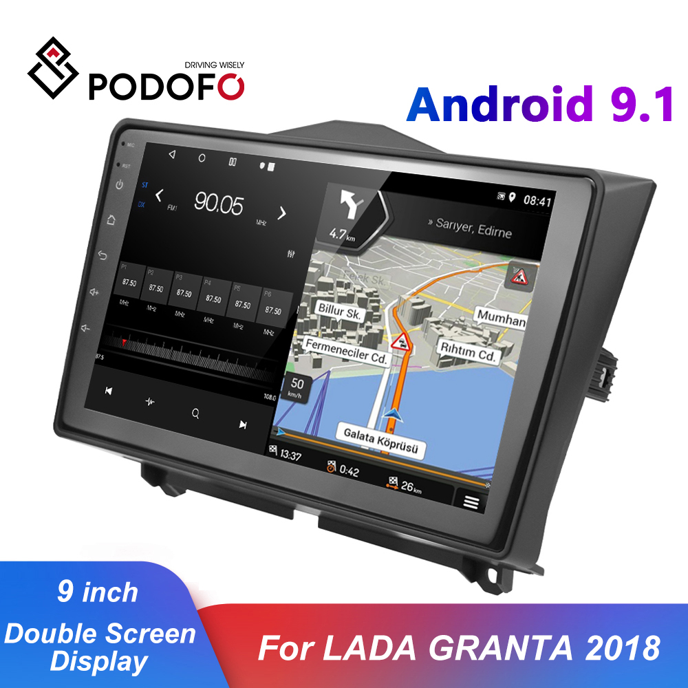Podofo 2 Din Android 9.1 Car Radio USB GPS WIFI Car Multimedia Video Player IPS RDS Bluetooth Autoradio For LADA GRANTA 2018 image