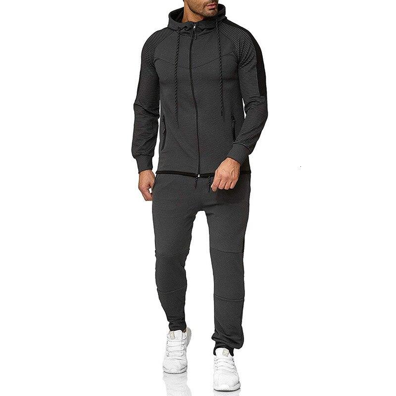 Marque survêtement pour hommes deux pièces blanc hommes survêtements Hoodies 2019 vêtements pour hommes Sport survêtement hommes ensemble vêtements pour hommes automne - 5