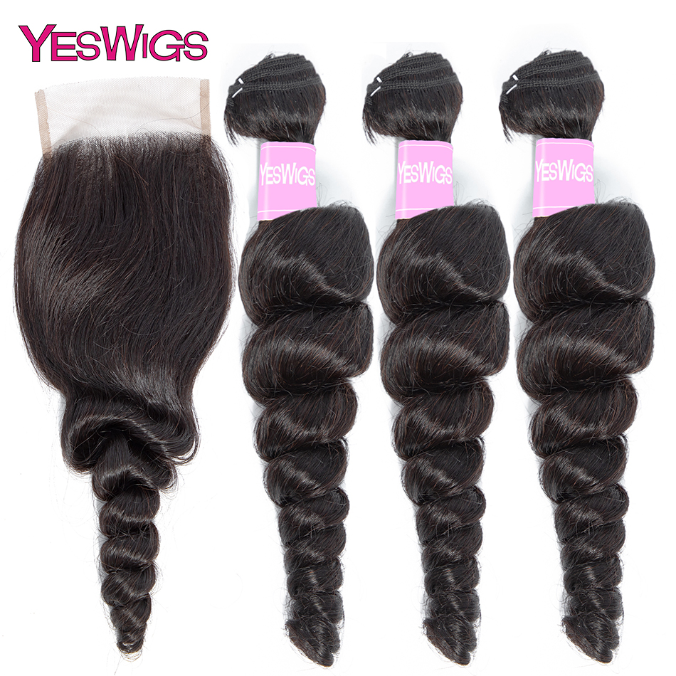 Yeswigs Loose Wave Hair Bundles With Closure 3 Bundles With Lace Closure Brazilian Hair Weave Extensions Free Shipping
