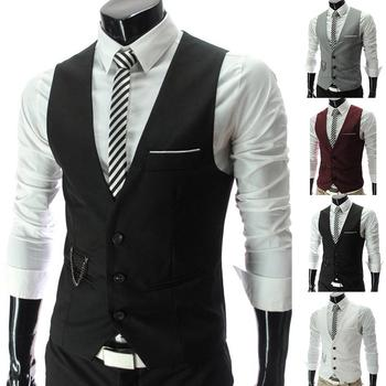 Fashion Men Vests Waistcoat Vest Solid Color V Neck Sleeveless Buttons Blazer Plus Size Formal Business Jacket Vests