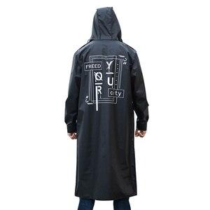 Image 5 - Yuding 블랙 패션 롱 남자 레인 코트 Unisex 성인 방수 판쵸 투어 플라스틱 레인 코트와 편지 인쇄 Drawstring