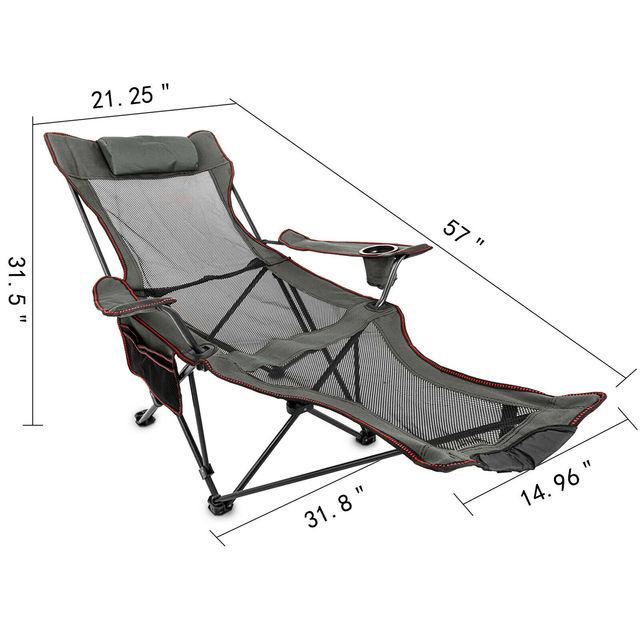 chaise de Camping VEVOR – chaise de Camping inclinable et pliante, avec repose-pieds, Portable, pour sieste, Camping en plein air, pêche, plage 6
