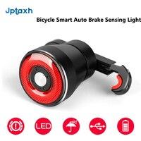 Jptaxh bicicleta inteligente luz de detecção freio automático ipx6 à prova dwaterproof água led carregamento ciclismo luz traseira da bicicleta acessórios q5 estrada