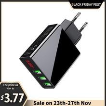 3ポートusb電話充電器ledディスプレイeuプラグ合計最大3Aスマート急速充電器携帯壁の充電器12プロアプリサムスン