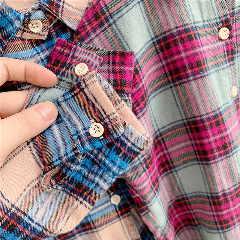 Girls shirts long sleeved Korean shirt for childrens in autumn new autumn kids shirt in 2019 plaid shirt girl 39 s blouse in Blouses amp Shirts from Mother amp Kids