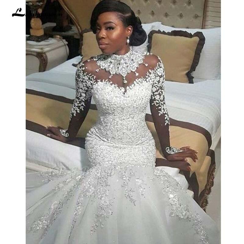 Luxury Mermaid Wedding Dresses Sheer Long Sleeve High Neck Crystal Beads Chapel Train African Arabic Bridal Gowns Plus Size