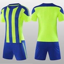 Полосатые футбольные майки для мужчин, женщин и мальчиков, комплекты, Детский молодежный футбольный комплект, униформа для тренировок, костюмы, футболка и шорты на заказ