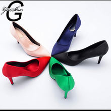 GENSHUO Fashion High Heels Ladies Shoes Black Nude Chaussures Femme Wedding Shoes Red Heels Pumps 10CM Stiletto Heeled Pumps(China)