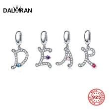 DALARAN 26 Letters 925 Sterling Silver Bead Charms Original Fit DIY Pandora Bracelet Jewelry Making Pendant Necklace