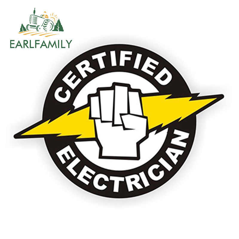 Earlfamily 12Cm X 8.8Cm Gecertificeerd Elektricien Hard Helm Hoed Sticker Label Elektrische Hoogspanning Auto Sticker Vinyl